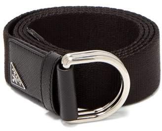 Prada Grosgrain And Leather Belt - Mens - Black