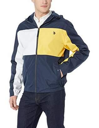 U.S. Polo Assn. Men's Colorblock Windbreaker with Fixed Hood