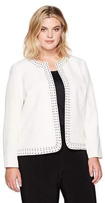 Kasper Women's Plus Size Stretch Crepe Flyaway Embellished Jacket