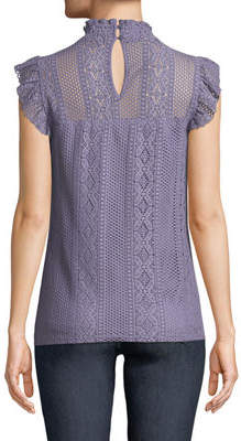 Neiman Marcus Mock-Neck Crochet Lace Blouse