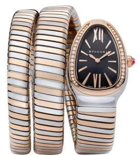Bvlgari Serpenti Tubogas Rose Gold, Stainless Steel & Diamond Double Twist Watch