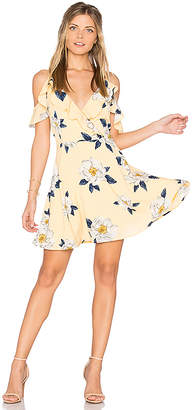 J.O.A. Flower Print Cold Shoulder Flare Dress in Yellow $95 thestylecure.com