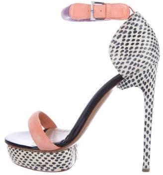 Nicholas Kirkwood Snakeskin-Trimmed Ankle Strap Sandals
