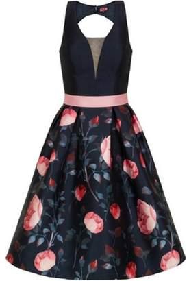 Dorothy Perkins Womens *Chi Chi London Navy Floral Print Midi Skater Dress