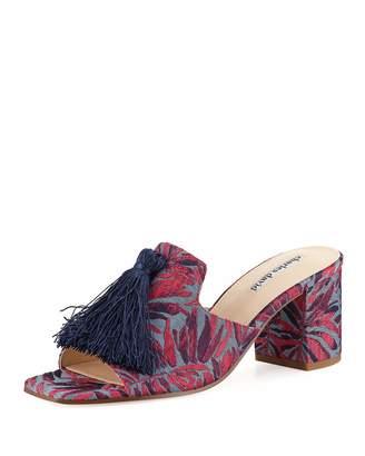 Charles David Chia Block-Heel Brocade Tassel Slide Sandal