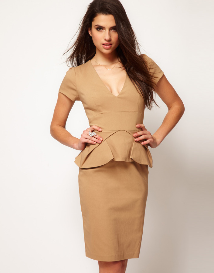 Hybrid Dress With Deep V-Neck And Pleated Peplums