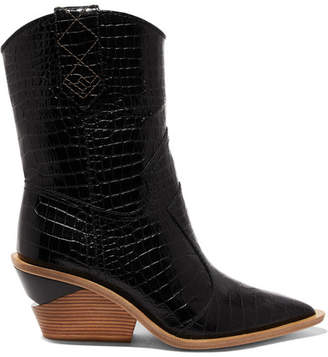 Fendi Croc-effect Leather Boots - Black