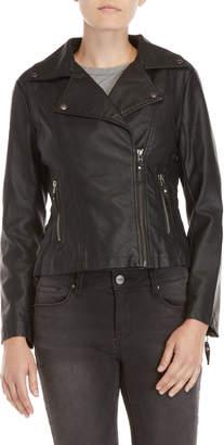 Max Studio Petite Faux Leather Moto Jacket