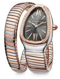 Bvlgari Serpenti Tubogas Rose Gold, Stainless Steel& Diamond Single Twist Watch