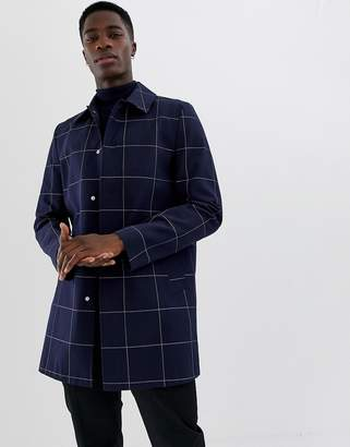 Asos Design DESIGN single breasted trench in navy check