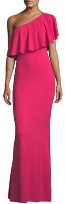 Chiara Boni Nadeja Adjustable Fold-Over Ruffle Gown