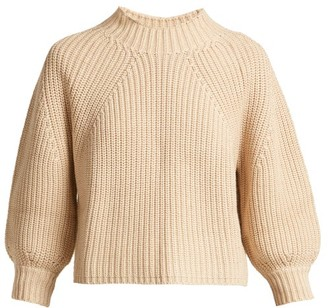 Apiece Apart Merle Cropped Puff Sleeve Cotton Blend Sweater - Womens - Cream