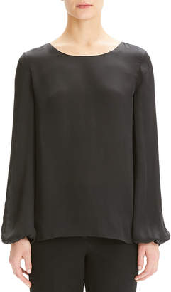 1d030f155da Theory Scoop-Neck Blouson-Sleeve Silk Shirt