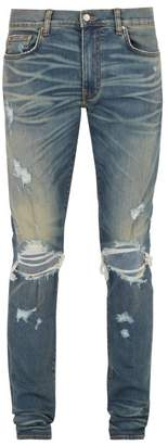Amiri Distressed Slim Leg Jeans - Mens - Blue