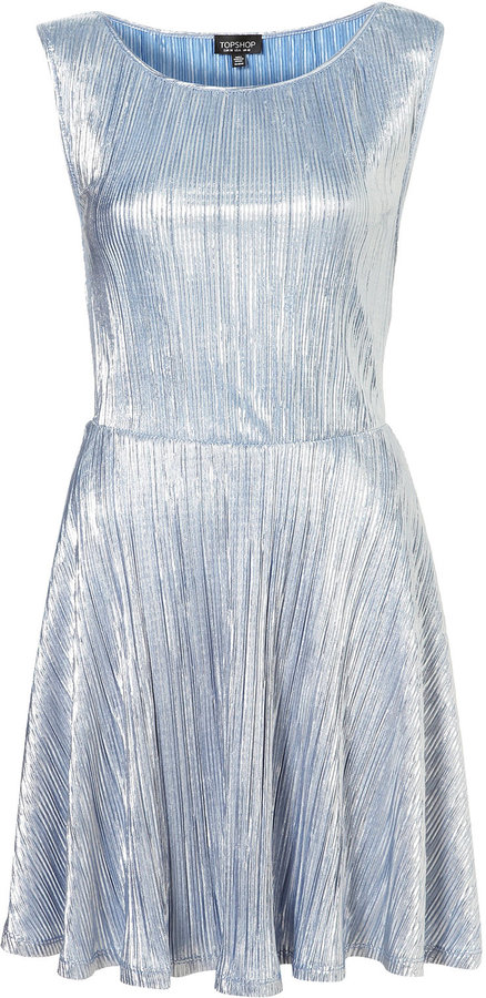 Metallic Pleated Tunic Dress