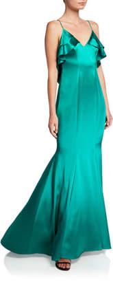 Zac Posen Hammered Charmeuse Sleeveless Mermaid Gown w/ Ruffled Back