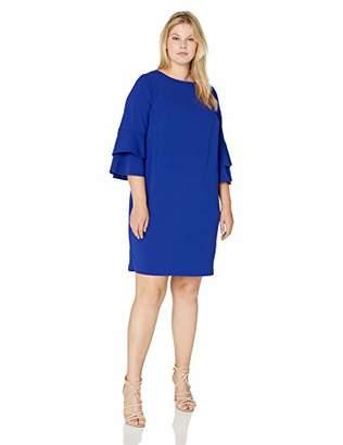 Jessica Howard Plus Size Womens Double Bell Sleeve Shift Dress