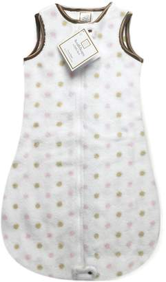 Swaddle Designs zzZipMe Sack with 2-Way Zipper, Cozy Microplush Wearable Blanket, Gold Little Dots with Mocha Trim, Pastel Pink 3-6 Months