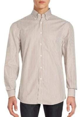 Brunello Cucinelli Striped Long Sleeve Cotton Shirt