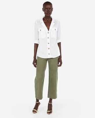 Express Linen-Blend Lapel Collar Y-Neck Shirt