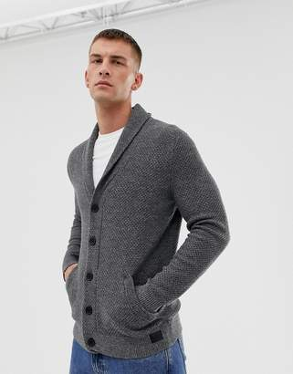 Hollister shawl collar knit cardigan in gray marl