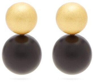 Vanda Jacintho - Wooden Sphere Drop Earrings - Womens - Black Gold