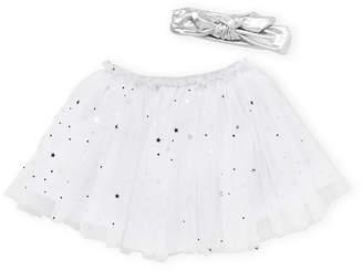 Popatu Newborn/Infant Girls) Two-Piece White Headband & Tutu Set