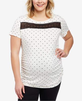 Motherhood Maternity Plus Size Lace-Trim T-Shirt