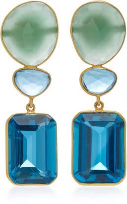 Bahina 18K Gold Agate And Blue Topaz Earrings