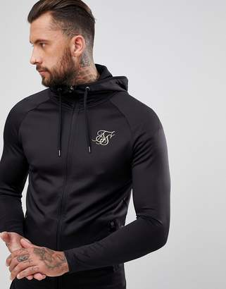SikSilk Track Hoodie In Black With Gold Logo