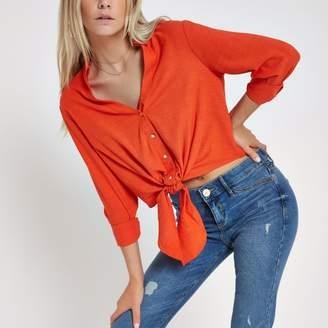 River Island Womens Orange long sleeve cropped shirt