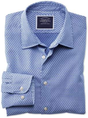 Charles Tyrwhitt Classic Fit Washed Royal Blue Gingham Textured Cotton Casual Shirt Single Cuff Size Small