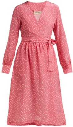 Adriana Degreas Mille Punti Polka Dot Print Silk Crepe Wrap Dress - Womens - Pink White