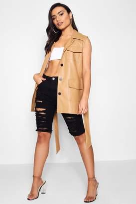 boohoo Sleeveless Faux Leather Safari Jacket