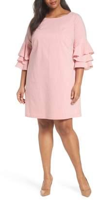 Adrianna Papell Ruffle Sleeve Stripe Shift Dress