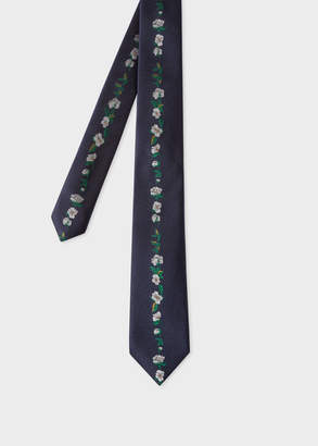 Paul Smith Men's Navy 'Floral Stripe' Embroidered Narrow Silk Tie