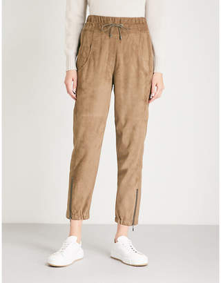 Brunello Cucinelli Tapered cropped mid-rise suede jogging bottoms