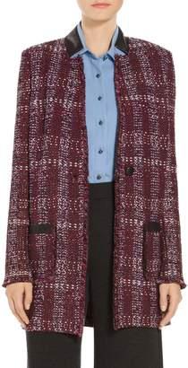 St. John Flecked Textures Plaid Knit Jacket