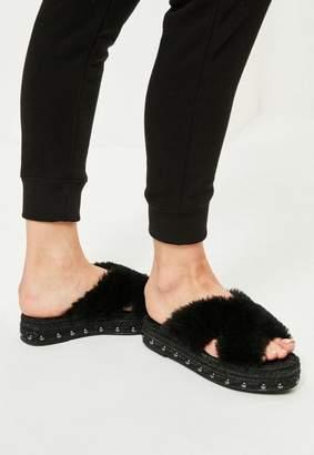 Missguided Black Faux Fur Cross Strap Studded Sliders