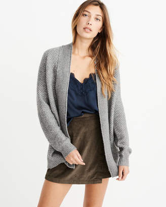 Abercrombie & Fitch Textured Puff Sleeve Cardigan