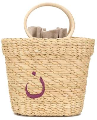 Poolside Maknoon embroidered tote bag