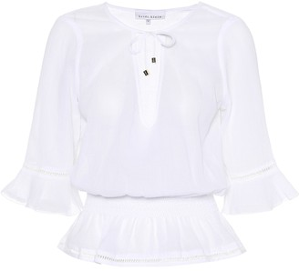Heidi Klein Seychelles smocked cotton top
