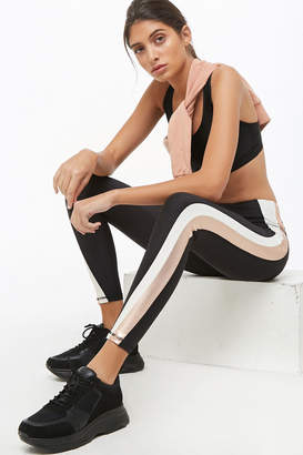 Forever 21 Active Metallic Side-Striped Leggings