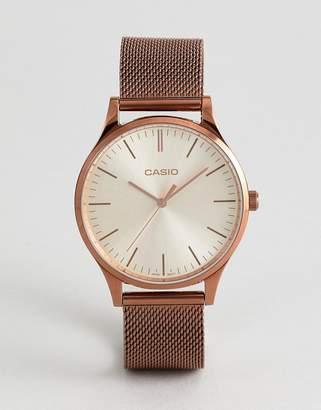 Casio LTP-E140R-9AEF Mesh Watch In Rose Gold