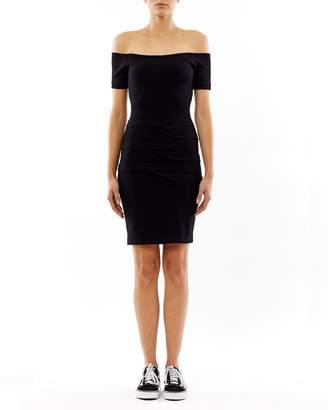 Nicole Miller Tidal Pleat Off The Shoulder Dress
