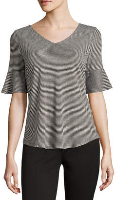 Liz Claiborne Short Sleeve V Neck Stripe T-Shirt - Womens