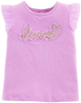 Carter's Girls Round Neck Short Sleeve Embellished Applique T-Shirt-Toddler