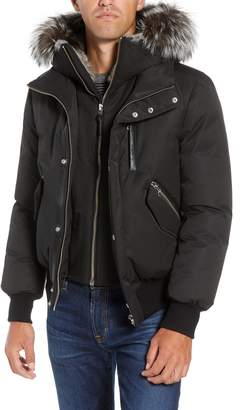 Mackage Lux Down Bomber Jacket with Genuine Fox Fur Trim