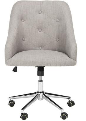Safavieh Evelynn Tufted Linen Chrome Leg Swivel Office Chair