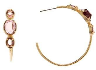 Rivka Friedman 18K Gold Clad Raspberry Cat's Eye Hoop Earrings